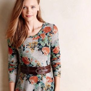 Anthro Saturday Sunday Gray Floral Dress Size S